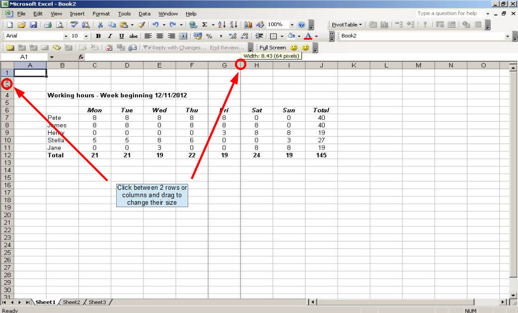 Automatically resize excel cells